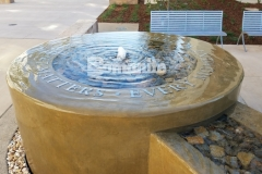 Our associate, Heritage Bomanite, used Bomanite Integral Color in conjunction with a smooth trowel finish to create this decorative concrete fountain at the Clovis Community Medical Center and the tranquil, calm atmosphere is perfect to remind patients and visitors that every moment matters.