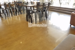 The Bomanite Patene Teres Custom Polishing System was used here to create a decorative concrete flooring surface with a durable, high-gloss finish that complements the contemporary and sophisticated design aesthetic in this church cafe.