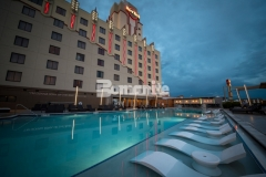 This distinctive pool deck design features Bomanite Alloy architectural exposed concrete and was installed at the Hard Rock Hotel & Casino Tulsa to create the perfect slip resistant, durable, low maintenance surface for this well-known gaming hotel.