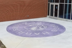 Harrisburg High School custom Bulldog Mascot Logo using Bomanite Exposed Aggregate Systems with Bomanite Alloy located in Harrisburg, IL.