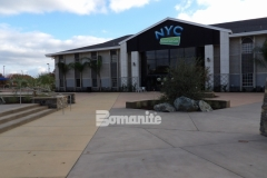 This stunning hardscape features Bomanite Sandscape Texture decorative concrete and I love how it adds balance and consistency to the various multi-use spaces across this church campus.
