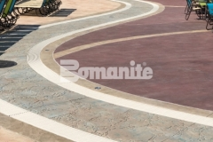 Featured here is Bomanite imprinted concrete with multiple Bomacron patterns that integrate perfectly to add contrast and dimensional detail throughout the Castaway Island water feature in Canobie Lake Park.