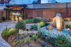 The Bomanite Bomacron Imprint System is featured here in Small Sandstone and Regular Slate and these decorative concrete walkways were created to help aid healing of body, mind, and spirit in the healing garden at CMC Mercy Hospital.