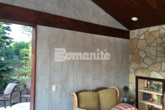 The Bomanite Bomacron Boardwalk pattern was used to emboss and add texture to this Bomanite Thin-Set overlay that was installed vertically to create a beautiful, decorative concrete wall surface and add character and warmth to this cabana.